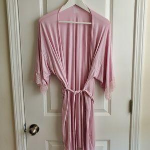 Beautiful Soft Lace Trim Robe / Rose